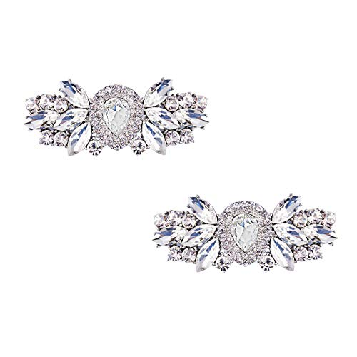 (ElegantPark DJ Women Rhinestones Shoe Clips Decorative Jewelry Charms Water Drop Wedding Party Accessories Decoration Silver 2 Pcs)