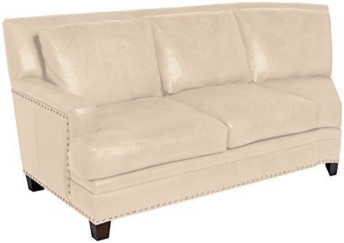 Omnia Leather Glendora Left Arm 2 Cushion Loveseat with Half Curve in Leather, with Nail Head, Softstations White Winter