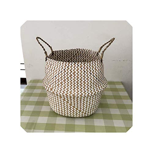 Foldable Handmade Seagrass Storage Basket Wicker Rattan Belly Straw Garden Flower Pot Wave Pattern Planter Clothes Basket,Beige,27cm (Clue Crossword Basket Wicker)