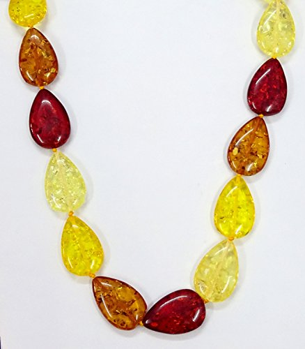 (22 Inch Amber Necklace, Baltic Amber/Honey Amber Pear Necklace Designer Rare Smooth Beads Cognac Beach Prom Multicolor For Gift Sale.)