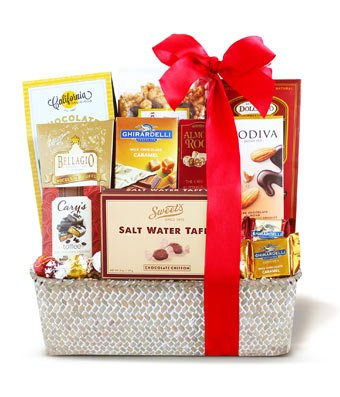 Fannie May Spring Wrapped Basket - Same Day Gourmet Chocolate & Snack Basket Delivery - Gourmet Gift Baskets - Snack Gift Baskets - Gourmet Chocolate Gift Baskets - Chocolate Food Gift Baskets (Chocolates Delivered Same Day)