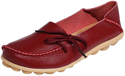 Cowhide Fangsto Leather 1 Slip Loafers Shoes Slipper ONS Sty Flat Women's Burgundy gp5wqZ