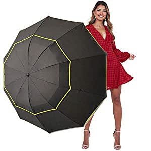 Kalolary 62 Inch Extra Oversize Large Compact Golf Umbrella, Double Canopy Vented Windproof Waterproof Stick Umbrellas for Women & Men