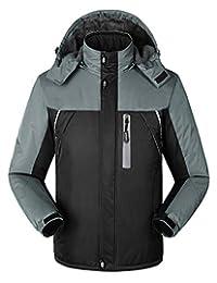 Mens Hooded Windproof Ski Jacket Fleece Inner Snow Jacket Waterproof Softshell Raincoat for Outdoor Hiking Mountaineering