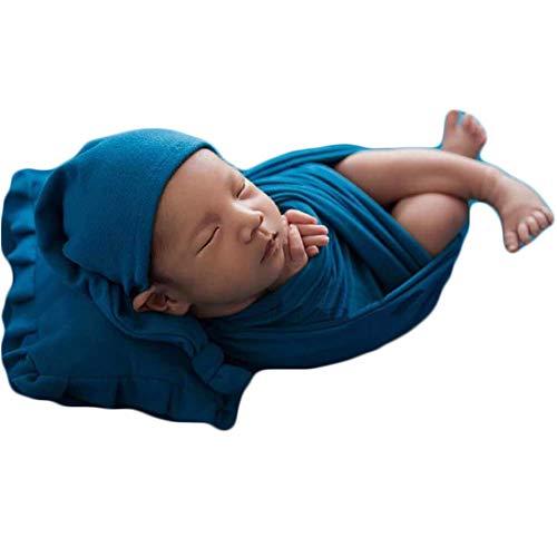 Baby Photography Props Blanket Newborn Photo Shoot Wrap Infant Outfits Boy Girl Costume Hat 3-Piece Set (Indigo)