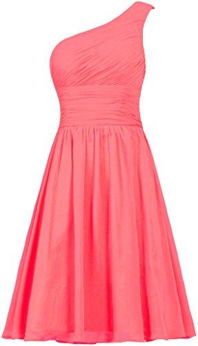 ANTS Women's Chiffon One Shoulder Bridesmaid Dresses Short Evening Dress Size 12 US Coral