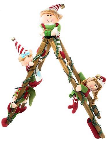 Holiday Lighted Decorative Elf Ladder