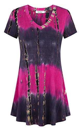 (Sixother Womens Tie Dye Tunics Summer Casual Short Sleeves Tops Flowy Blouses Black Red)