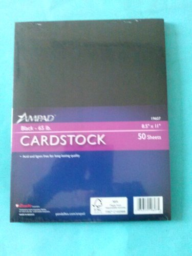 Esselte Ampad 19607 Cardstock Black 65 lb. 8 1/2'' x 11'' 50 Sheets Acid and Lignin Free by Ampad