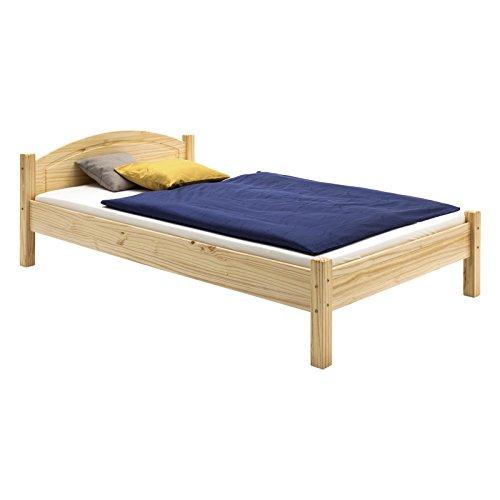 Holzbett Einzelbett Doppelbett MARIE Bett 100 x 200 cm (B x L) Kiefer massiv natur lackiert