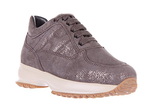 Hogan scarpe sneakers bambina camoscio nuove oro