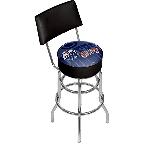 Trademark Gameroom NHL1100-EO-WM NHL Swivel bar Stool with Back - Watermark - Edmonton Oilersa