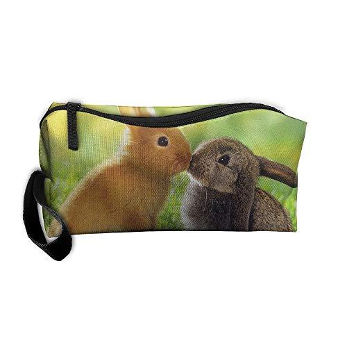Jessent Coin Pouch Kiss Rabbits Pen Holder Clutch Wristlet Wallets Purse Portable Storage Case Cosmetic Bags Zipper ()