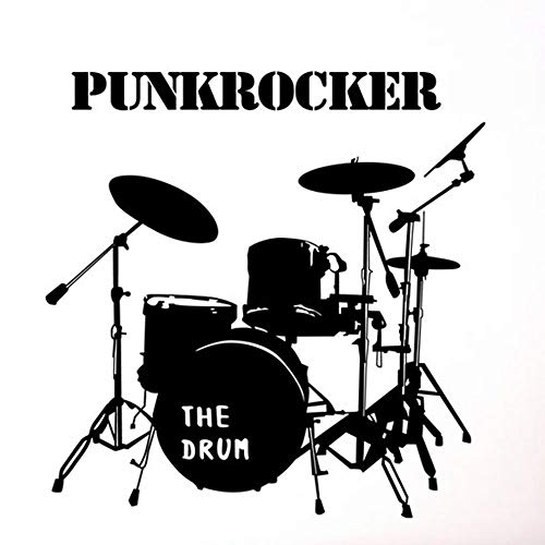 Wall Decal Vinyl Art Cartoon Sticker Punk Rocker Theme English Alphabet Wall Decals The Black Drum Removable Wall Stickers for Living Room House Bedroom Kitchen Office (Drum Wall)