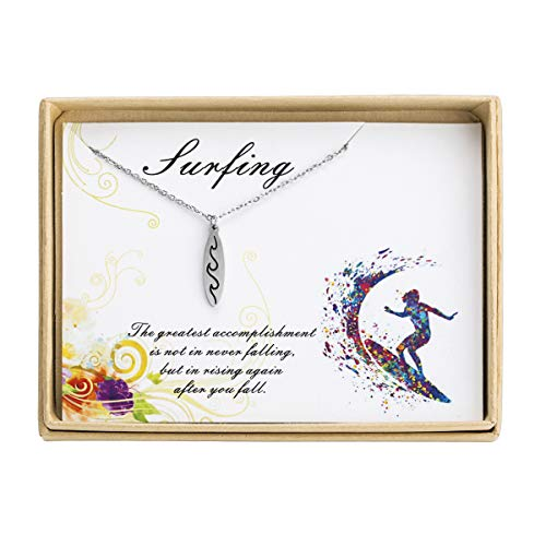 Jdesign Surfboard Necklace Ocean Waves Surfboard Charm Sport Pendant Necklace Gift for Surfers Gifts for Best Friends Comes with Inspirational -