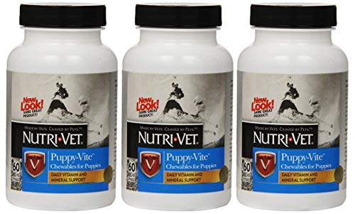- Nutri-Vet 3 Pack of Puppy-Vite Chewables, 60 Count Each, Daily Vitamin and Mineral Support for Puppies