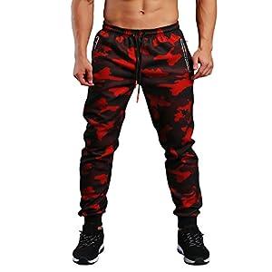 EKLENTSON Men's Closed Bottom Sweatpants Zipper Pockets Drawstring Camo Joggers Pants for Gym Workout
