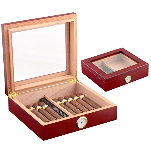 $70.46 antique humidor NACHEN Wooden Cigar Humidor with Hygrometer Holds 30 Cigars Brown Black 2019