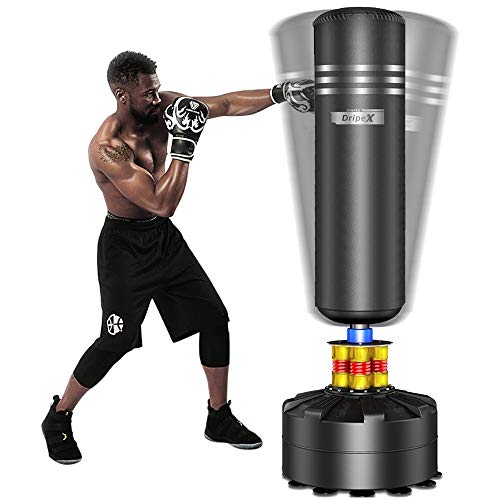 Dripex Freestanding Punching Bag 69''- 182lb Heavy Boxing Bag with Suction Cup Base for Adult Youth - Men Stand Kickboxing Bags Kick Punch Bag | Black (Best Heavy Bag Stand)