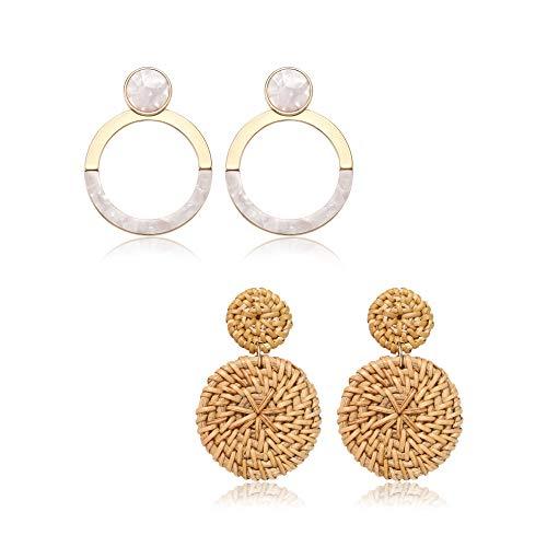 (BSJELL Rattan Hoop Earrings Set for Women Handmade Woven Wicker Mottled Acrylic Earrings Statement Geometric Drop Dangle Earrings (A-White))