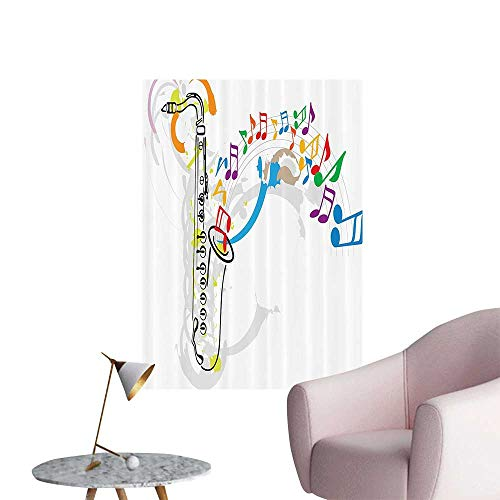 Wall Art Prints Celebrati Festival Theme Artwork with Music Notes and Saxophe for Living Room Ready to Stick on Wall,16