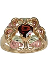 1.10 Ct Garnet Heart 10k Yellow Gold Hearts Ring with 12k Green and Rose Gold Accents Sizes 4, 4.5, 5, 5.5, 6, 6.5, 7, 7.5, 8, 8.5, 9