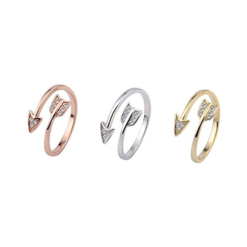- DYbaby Crystal Love Struck Arrow Ring Adjustable Copper Wrapped Ring Free Size Ring Gift for Womens and Girls (3 Color Set)