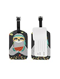 My Daily Cute Sloth Watermelon Flower Luggage Tag PU Leather Bag Suitcases Baggage Label