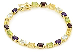 """Yellow Gold Plated Sterling Silver Multi-Gemstone Bracelet, 7"""" from Amazon Curated Collection"""