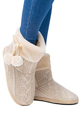 Airee Fairee Slippers Womens Indoor Slipper Boots for Ladies Girls with Knitted Upper and Pom Poms (Large-US 9-10, Beige)