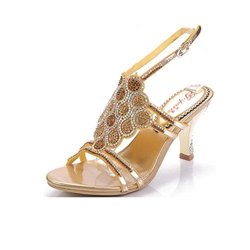 QPYC Ms sandalias de tacón fino lentejuelas lentejuelas a cielo abierto con cuentas boca baja hebilla tacones altos zapatos de mujer gold