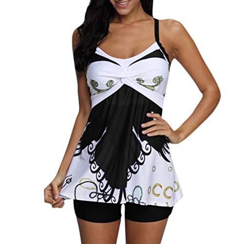 Elogoog Hot Sale 2019 Women Tankini Tummy Swimwear Tank Top Printed Swimsuit with Boyshorts Two Piece Bathing Suit (L, Black)