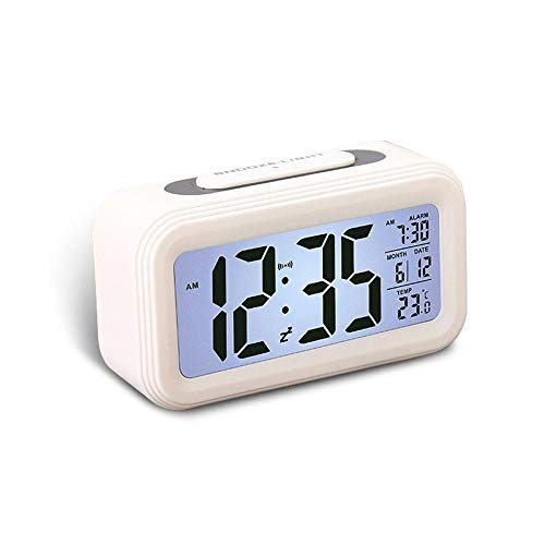 KOBWA Battery Digital Alarm Clock with Large Display,Multi-Function LCD Clock Loud Alarm,Snooze,Dimmer,Perpetual Calendar with Temperature Display,12/24 Hours for Home Bedrooms Office ()