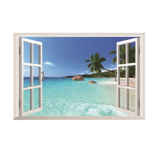 Large Removable Beach Sea 3D Window Decal Home Decor Exotic Beach View Art Wallpaper Mural View Scenery Home Decoration Art DIY Decor Wall Stickers for Bedroom Living Room (Mural Beach)