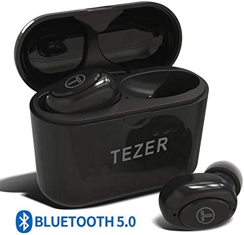 True Wireless Bluetooth Earbuds, Mini Bluetooth Earphones Latest Bluetooth 5.0 Headphone Built in Microphone Dual Speakers with 8 Hours Talking Time for iOS and Android Smart Phones, Black