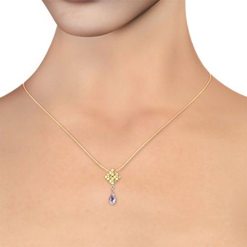 14K jaune Or 0,01carat au total Round-cut-diamond (IJ | SI) et pendentif améthyste