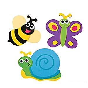 """12 ~ Bug / Insect Magnet Craft Kits ~ Self-adhesive Foam / Approx. 4 3/4"""" X 3 1/2"""" ~ New / Individually Packaged"""