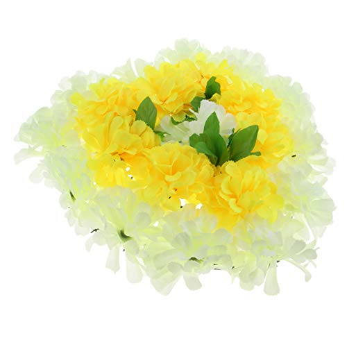Homyl Simulation Chrysanthemum Funeral Grave Rememberance Heart Wreath Flower Arrangement - Cream and Yellow, 45cm