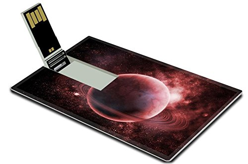 Luxlady 32GB USB Flash Drive 2.0 Memory Stick Credit Card Size red ringed planet in the space IMAGE 20620703