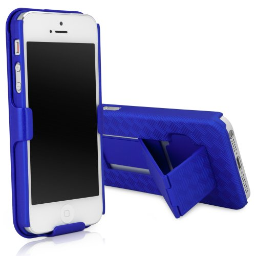 iPhone 5 Holster, BoxWave [Dual+ Holster Case] Shell Cover and Belt Clip Holster with Kickstand for Apple iPhone 5, 5s - Super Blue