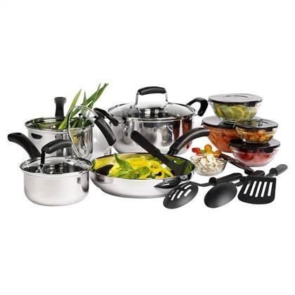 Basic Essentials 16pc Stainless Steel Cook and Prep Set