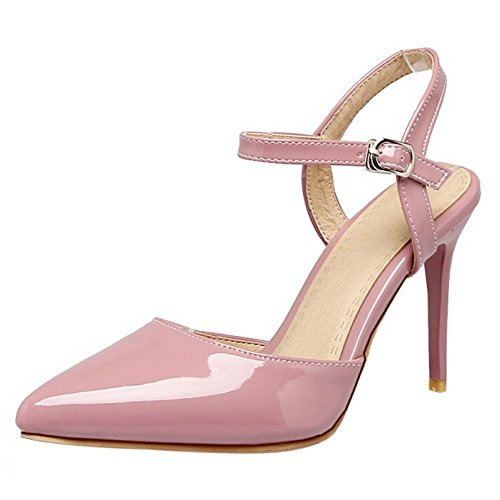 COOLCEPT Women Fashion Ankle Strap Sandals Stiletto Closed Toe Slingback Shoes Size Pink WaRjm