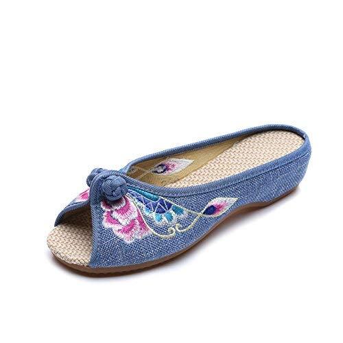 Bestickte Schuhe Schuhe Schuhe Sehnensohle ethnischer Stil weiblicher Flip Flop Mode bequem Sandalen blau 35 (Farbe   - Größe   -) 8953ed