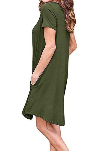 Minetom Mujer Verano Vestidos Pure Colores Casual Elegante Mini Dress de Camiseta Manga Corta con Cuello V Moda Vestido de Playa Clubwear Verde