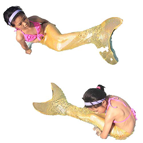 Swimmable Mermaid Tail W Monofin Sparkle Mermaid Tail Halloween Costume Kids Children,Gold W Monofin,M Tail]()