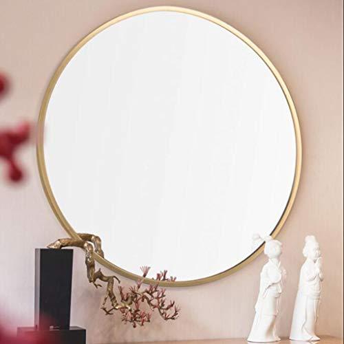 QARYYQ Mirror Round Bathroom Cabinet with Border Bathroom Wall-Mounted Wash Basin European Washroom Wall Mirror (Size : 80cm)