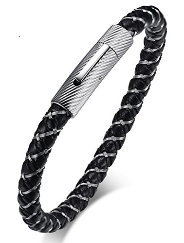 Braided Cable Bracelet (LineAve Men's Stainless Steel Cable and Braided Leather Bracelet, 9.3