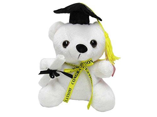 (Graduation Teddy Bear with Black Cap and Congratulations Ribbon - 7 inch)