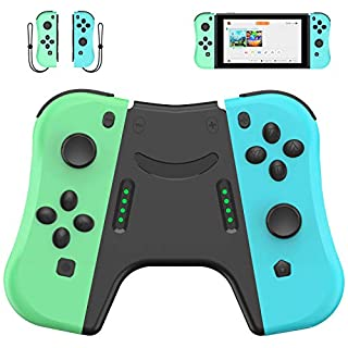 DELAM Controller Replacement for Nintendo Switch Joy Con, L/R Joy Pad with Wrist Strap, Alternatives for Nintendo Switch Controllers, Wired/Wireless Switch Remotes (Animal Crossing)