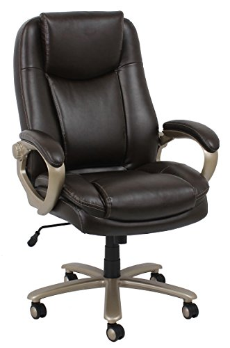 Essentials Big and Tall Executive Chair – Leather Office Chair with Fixed Arms, Brown (ESS-201-BRN)